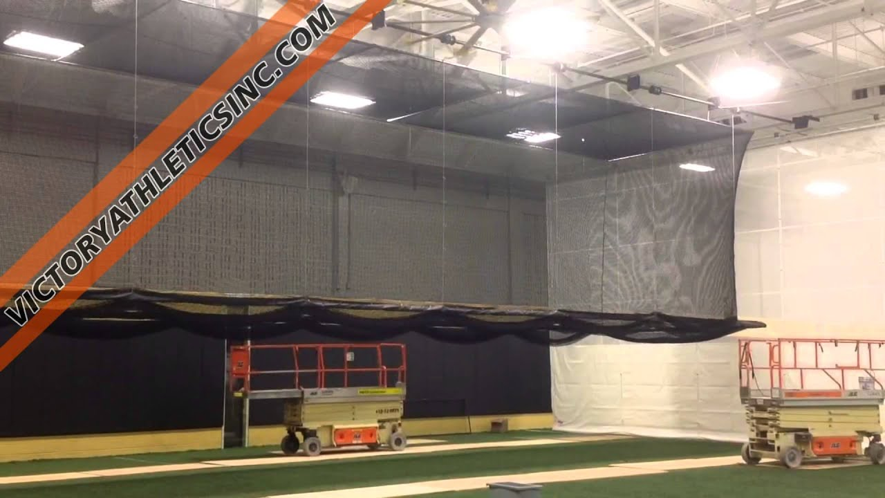 Hands Free Ceiling Suspended Retractable Batting Cage