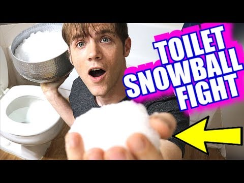 Toilet Snowball Fight - Giant Chocolate Coin Challenge - How to Make Gelli Snow Slime DIY
