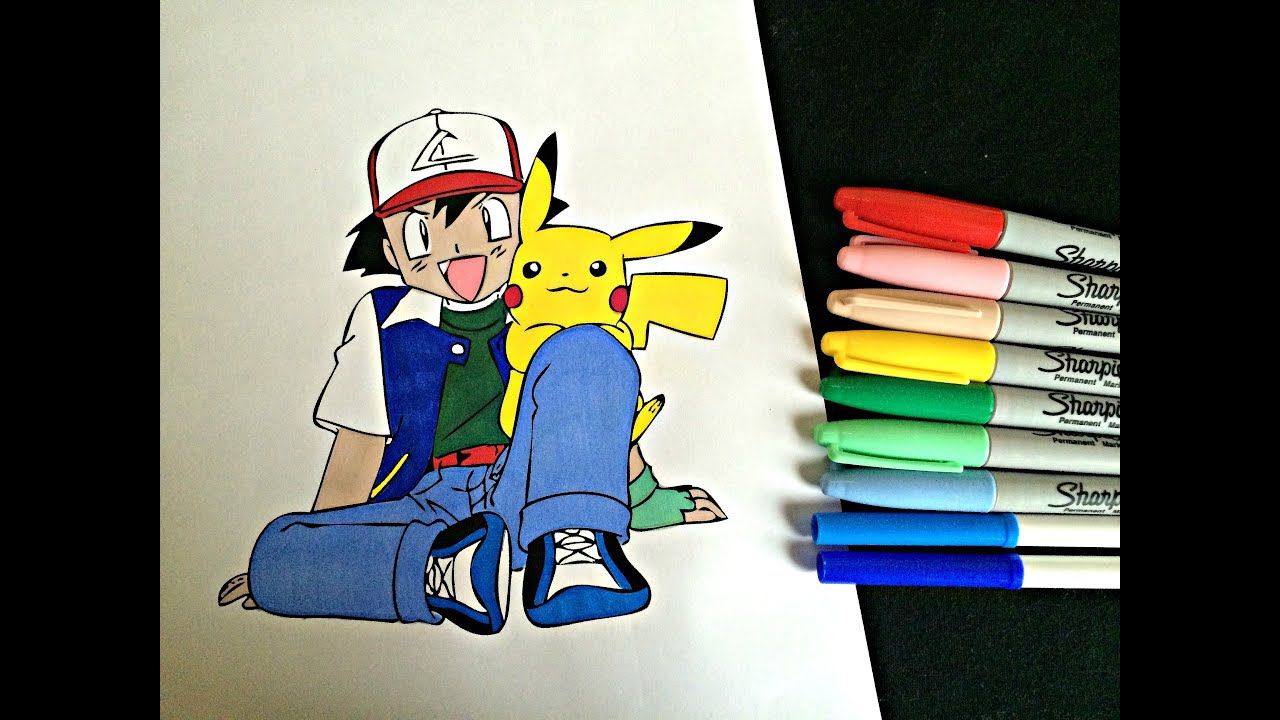 COLORING ASH AND PIKACHU! - YouTube