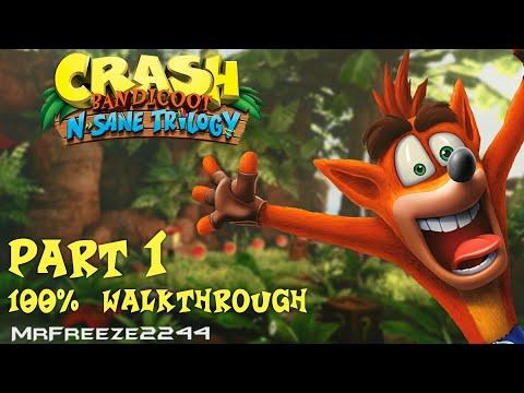 Crash Bandicoot 1 - N. Sane Trilogy - 100% Walkthrough Part 1 - All Gems