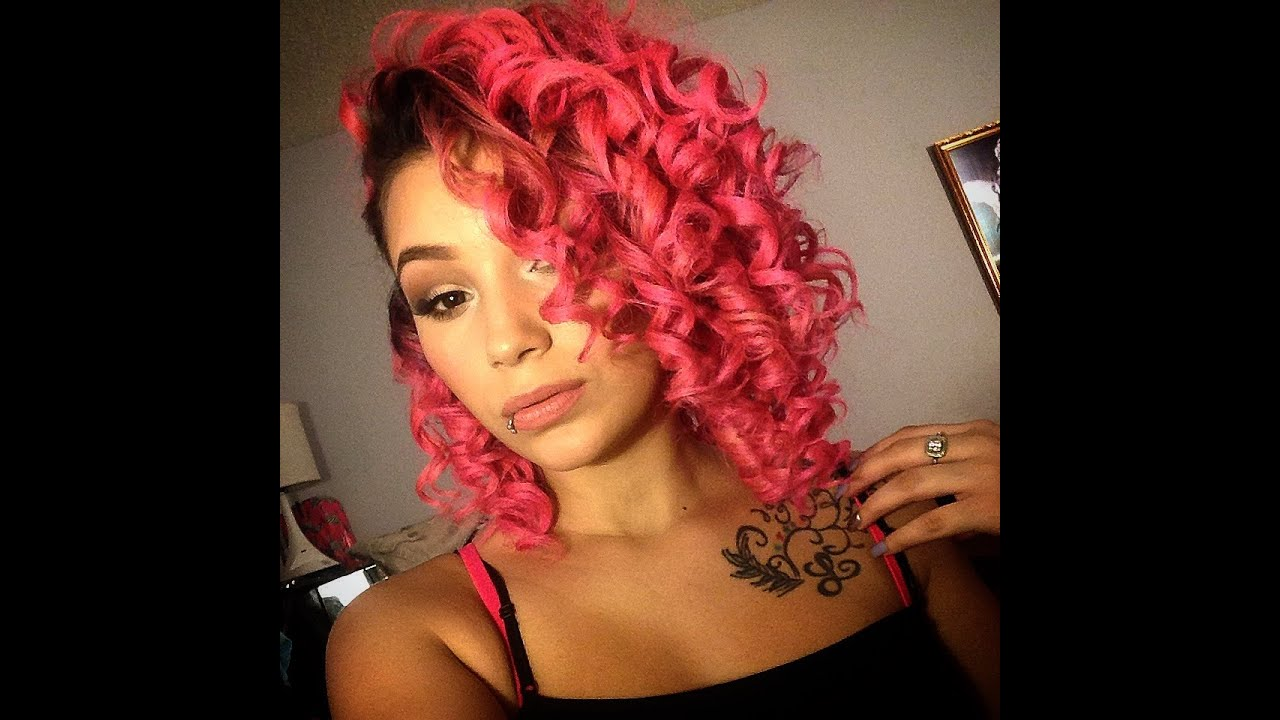 dyed & curled pink