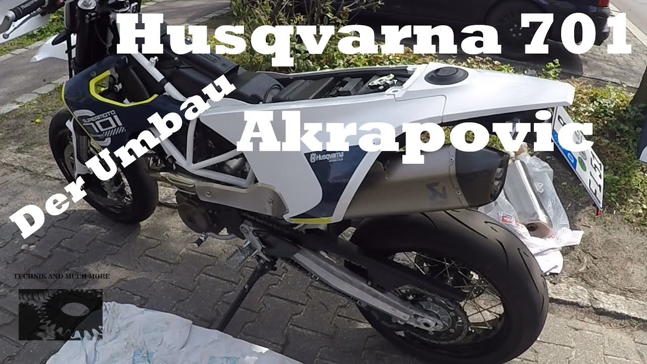 husqvarna 701 super moto umbau auf akrapovic youtube. Black Bedroom Furniture Sets. Home Design Ideas