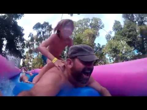 Water slide riding