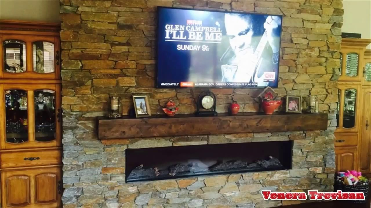 Electric Fireplace Tv Combo Stone Wall