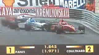 Irvine,salo and hakkinen crash monaco gp 1996