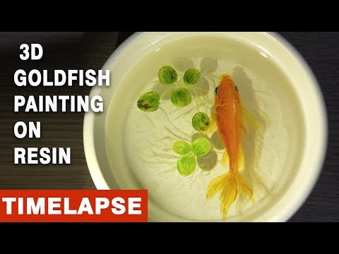 How to Paint 3D Goldfish on Resin | Time-lapse