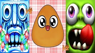Zombie Tsunami Vs Pou Vs Temple Run 2 | New Girl Santa Claus