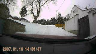 Nissan Almera and new barum polaris 3 vs. long and steep snowy hill.AVI