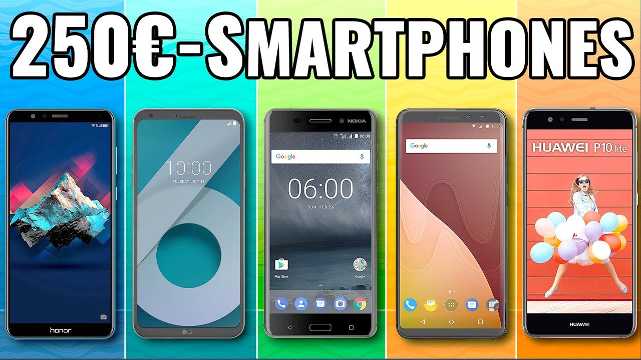 5 top smartphones handys unter 250 euro 2018. Black Bedroom Furniture Sets. Home Design Ideas