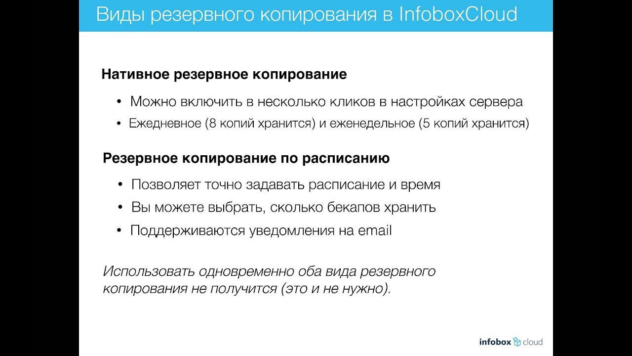 Резервное копирование в InfoboxCloud