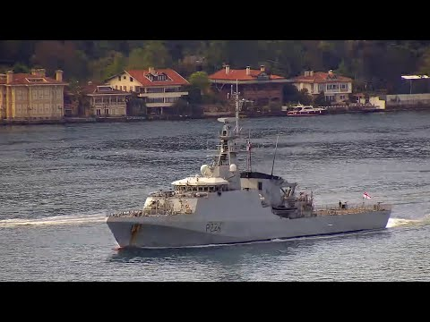 Royal Navy River-class offshore patrol vessel HMS TRENT transits Istanbul strait towards Black Sea