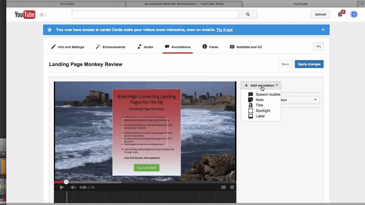 how to add an associated website to youtube