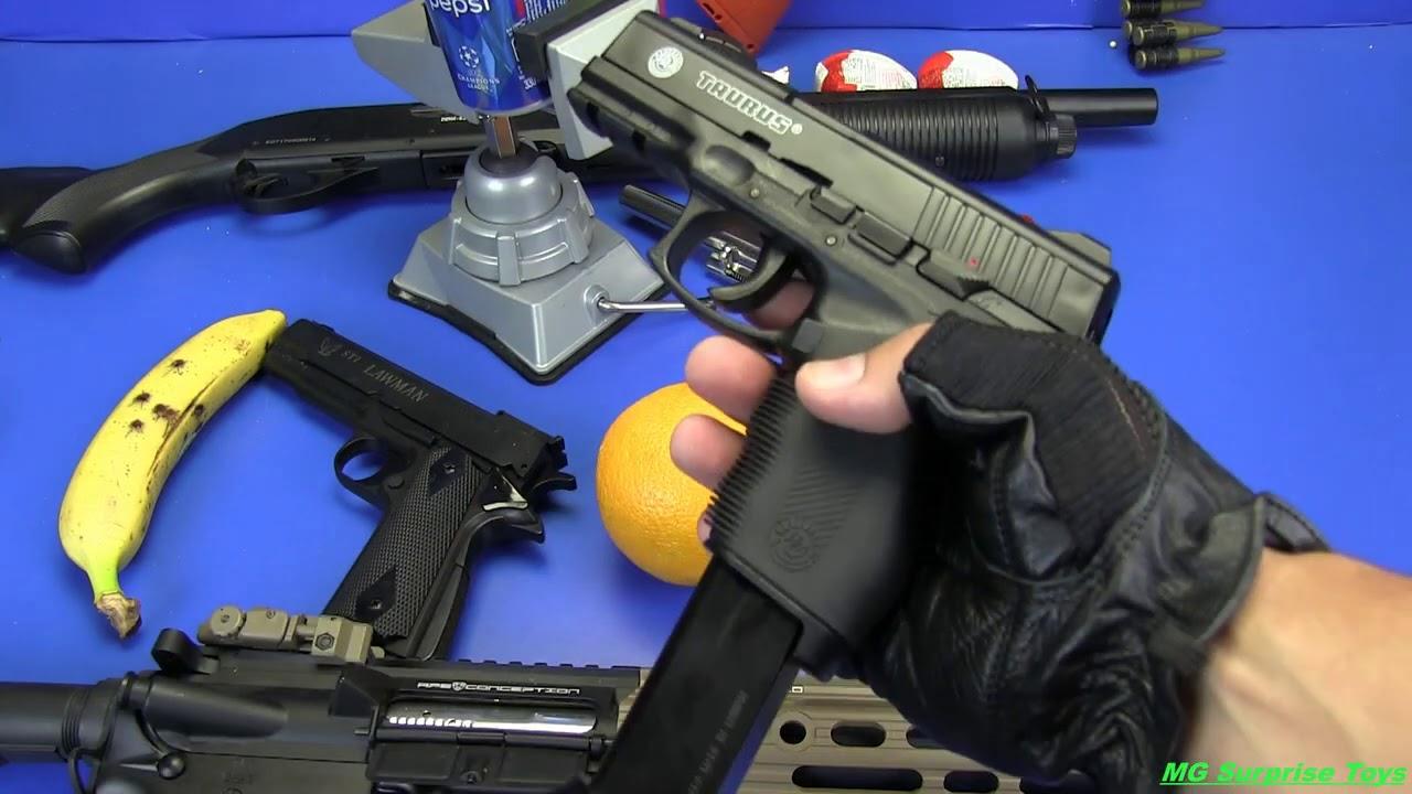 Airsoft Guns vs BANANA ! EXPERIMENTS Box of Airsoft Guns Toys