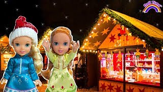 Christmas Train! Elsa & Anna Toddler Dolls - Christmas market -  Annie gets lost  - Santa Letter