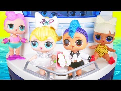 Punk Boi LOL Surprise Dolls Honeymoon with JOJO SIWA Get Married Wedding + Big Unicorn Lil Brother