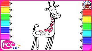 How to Color & Learn How to Draw Animals, Giraffe for Baby Coloring Pages for Learning Colors