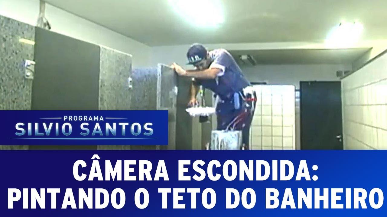 Câmeras Escondidas (17/01/16) - Pintando o teto do Banheiro