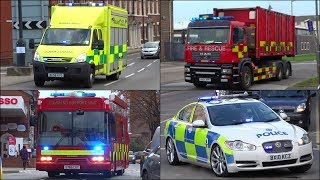 Specialist Fire Trucks, Police Cars and Ambulance vehicles responding with siren and lights