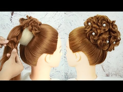 Beautiful Hairstyle For Party Wedding 2019 - Bridal Bun Hairstyle Tutorial | Trending Hairstyle