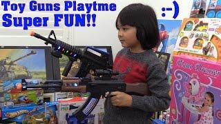 kids toy guns playtime fun ak 47 and m16 rifles unboxing and playtime rc tank super sherman run