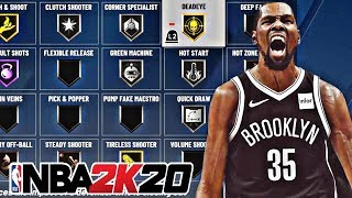 NBA 2K20 BEST BADGE SETUP FOR MY KEVIN DURANT SHOT CREATOR BUILD  - NBA 2K20 BEST SHOOTING BADGES