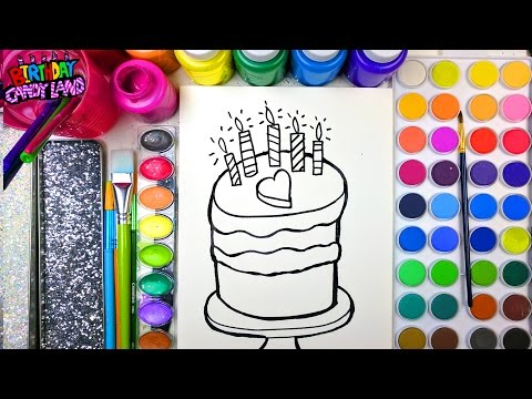 Thumbnail: Coloring Page of a Birthday Cake with Watercolor for Kids to Learn Color and Paint BirthdayCandyLand