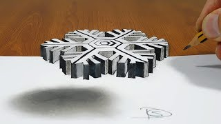 Floating Snowflake  3D Trick Art on Paper