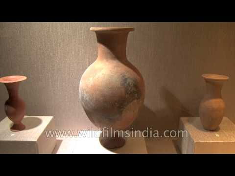 Old pottery antiques of different shapes on display at Rediscovering India 1961-2011