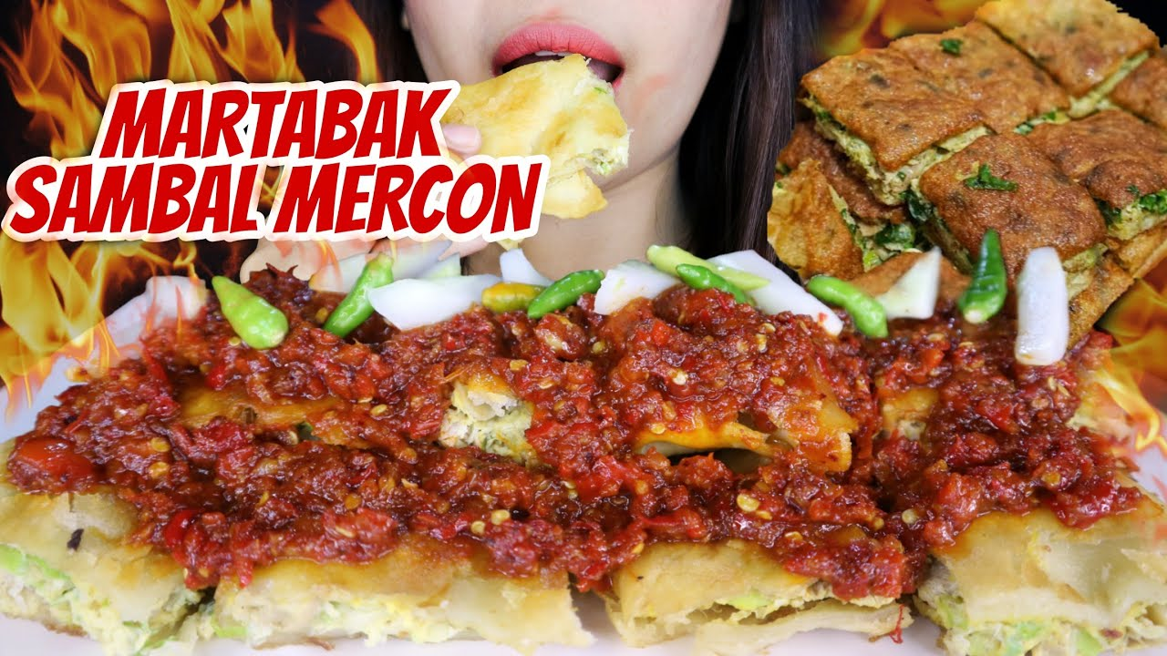 MARTABAK SIRAM SAMBAL MERCON PEDAS 🥙  RAWIT HIJAU   asmr mukbang Indonesia 🇮🇩