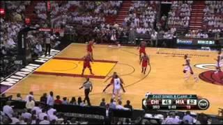 LeBron James dunks on Joakim Noah
