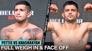 SERGIO PETTIS VS ALFRED KHASHAKYAN - FULL WEIGH IN & FACE OFF VIDEO | BELLATOR 238