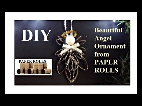 DIY, BEAUTIFUL ANGEL FROM PAPER ROLLS, Christmas Ornament recycled craft