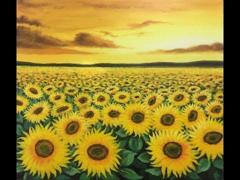 #oilpaintingtechnique#acrilic#tranh3d# Cánh đồng hoa hướng dương, sơn acrylic