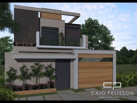 Projeto sobrado fachada moderna contemporanea minimalista for Casa moderna 7x20