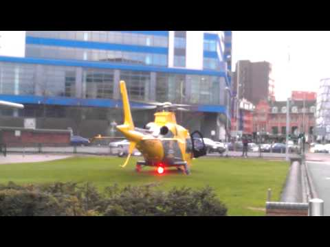 The air ambulance takes off from the Leicester Mercury