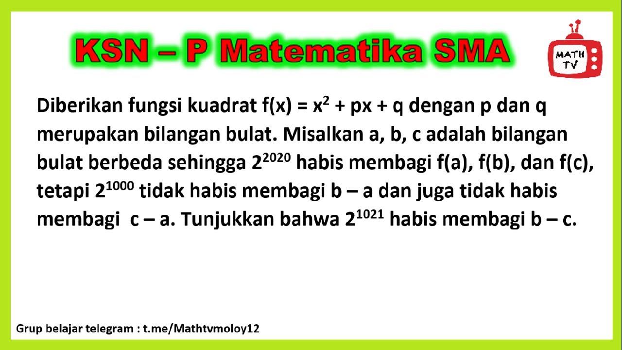 Soal Dan Pembahasan KSN-P Matematika #2