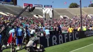 Folding umbrella stage at Rose Bowl Soccer event
