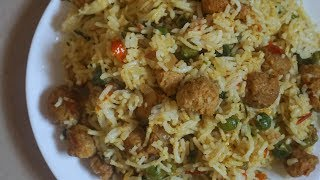 Lunch Box Recipes and ideas / Instant Rice Recipes For Lunch Box / Soya Chunks Vegetable Pulao Video