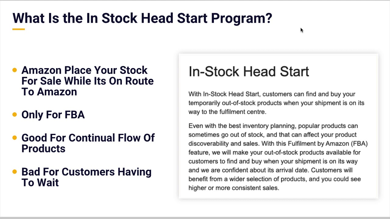 Selling On Amazon FBA How To Turn Off The In Stock Head Start Program