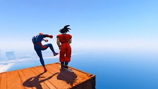GTA 5 Water Ragdolls SON GOKU VS SPIDERMAN. GTA 5 Superhero Battle Euphoria Physics & Jump/Fails