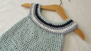 Repeat youtube video VERY EASY crochet circle neck baby dress tutorial