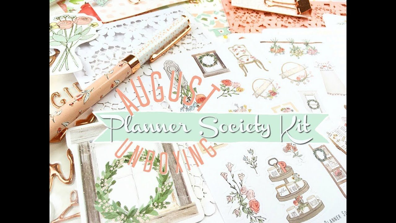 Planner Society Kit Unboxing August 2018 Youtube