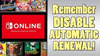 Nintendo Online is SET FOR AUTOMATIC RENEWAL