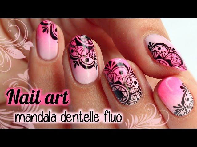 NAIL ART mandala dentelle fluo