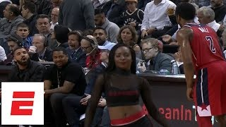 Drake gets fired up, jaws with John Wall during Game 5 of Raptors vs. Wizards | ESPN