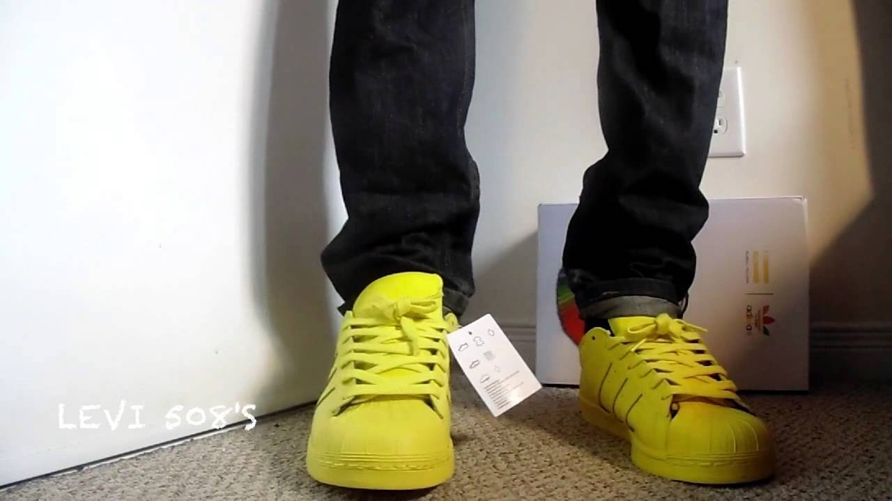 c107326f7a7fdb Pharell x Adidas Superstar Supercolor (Bright Yellow) On Feet - YouTube