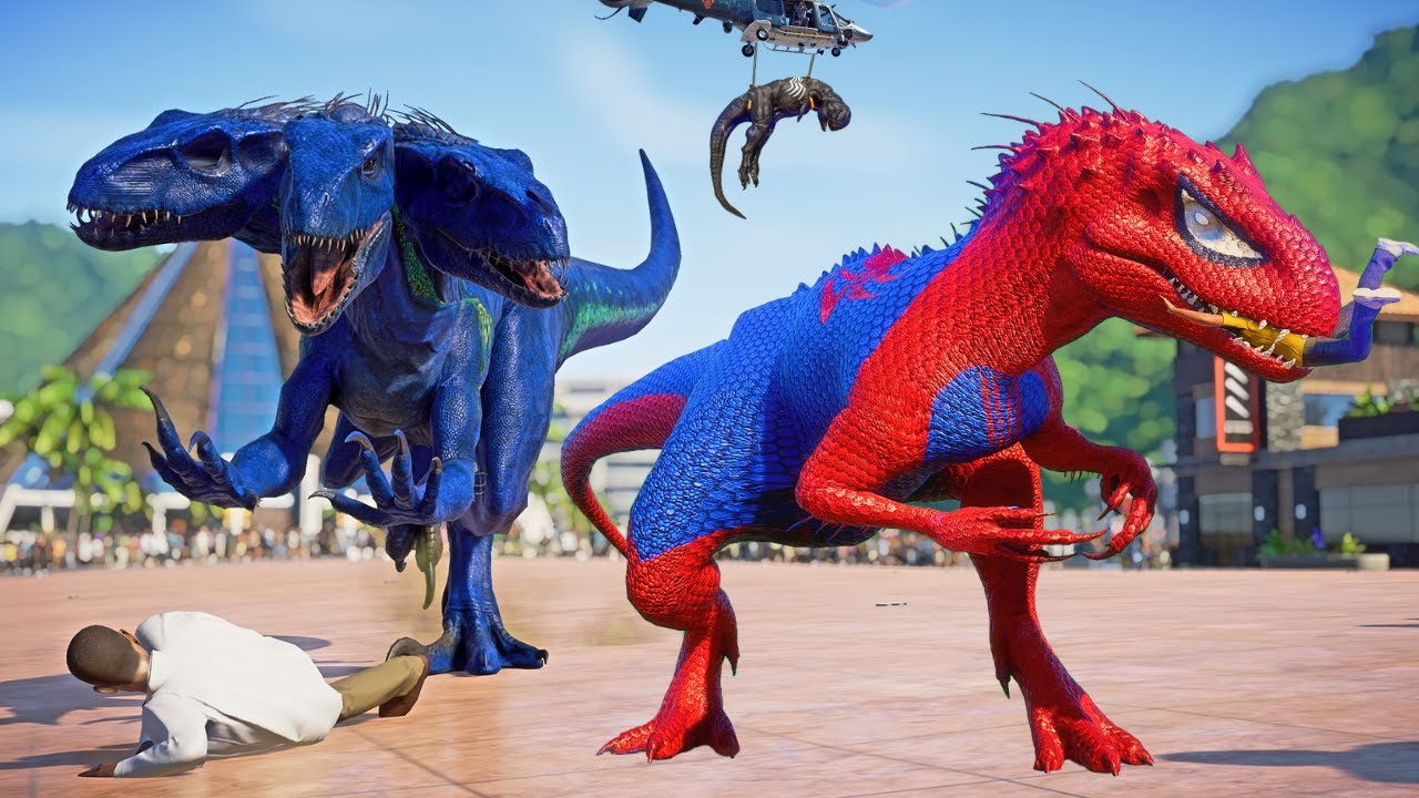Spiderman I-REX vs Venom, Devil Tyrannosaurus & King Shark Dino Fight Jurassic World Evolution