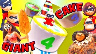 Giant Layer Cake Surprises with Moana and Maui! with Incredibles 2 Toys Learn Colors and Numbers!