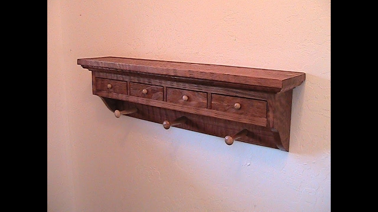 Make a Shaker inspired wood coat rack with drawers - YouTube