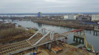 Строительство Фрунзенского моста 5.11.2017 (Video 4K)